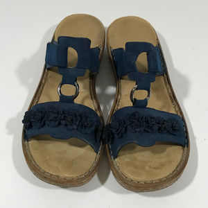 Rieker Navy Suede Sandal with Velcro & Flowers